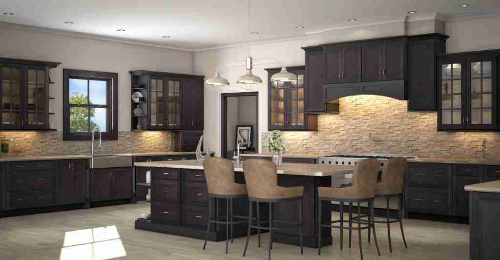 Cubitac Cabinetry Imperial Dark Kitchen Cabinets with Granite