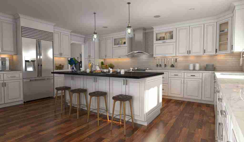 Cubitac Cabinetry Imperial Kitchen Cabinets with White and Chairs