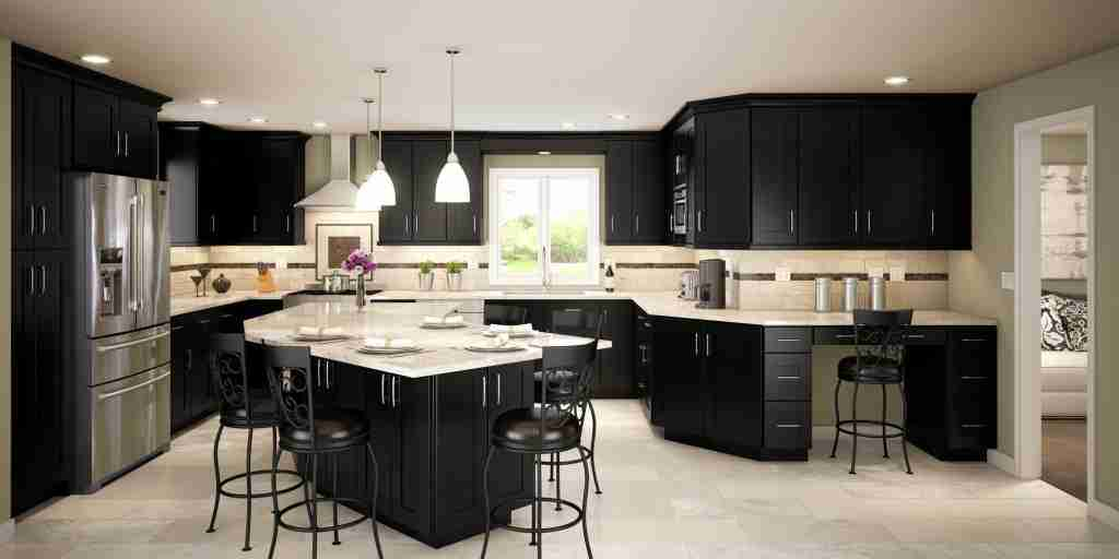 Cubitac Cabinetry Full Dark Cabinets in Kitchen with Granite Countertop