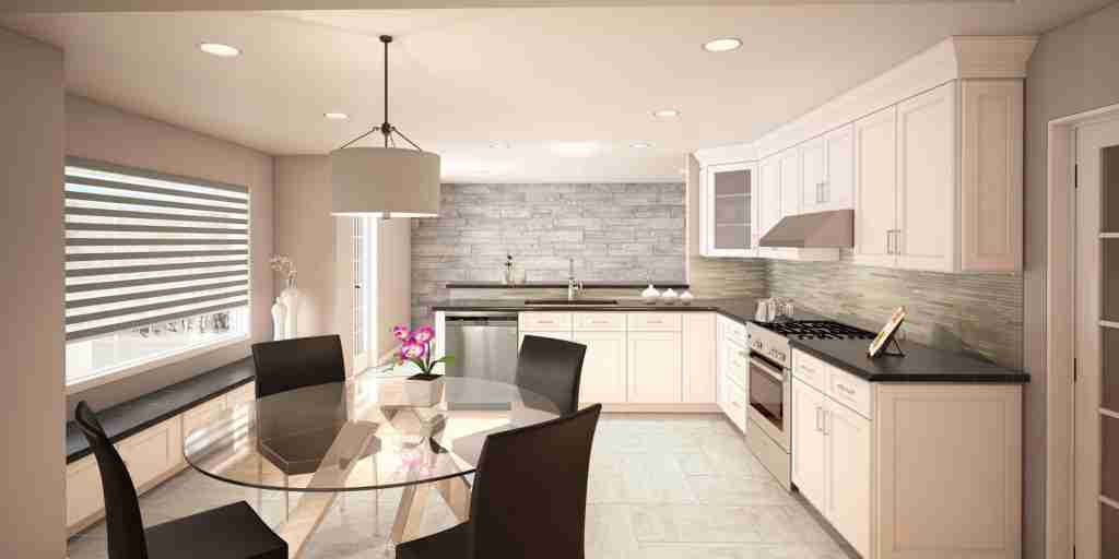 Cubitac Cabinetry White Cabinets in Kitchen with Black Granite