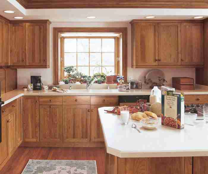UltraCraft Cabinetry Cherry Shaker Cabinets in rustic Kithcen
