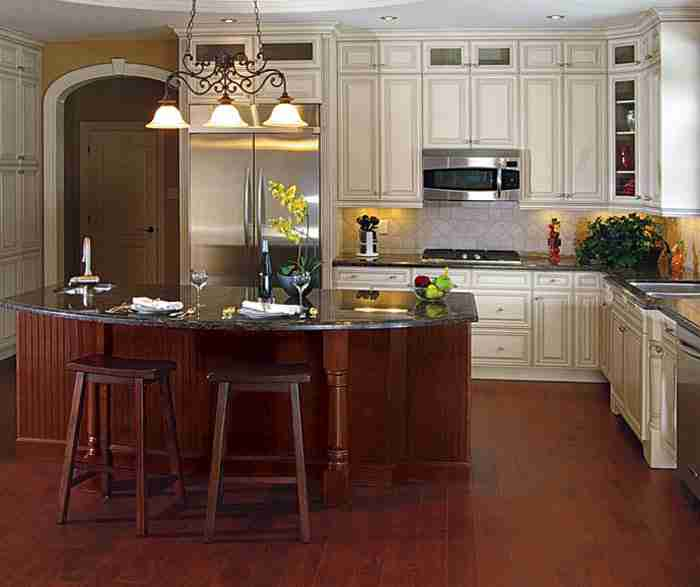 UltraCraft Cabinetry Painted Maple Cabinet with Kitchen Island